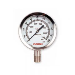 Marsh Elite W Series 100mm All Stainless Liquid Filled Industrial Pressure Gauge W96