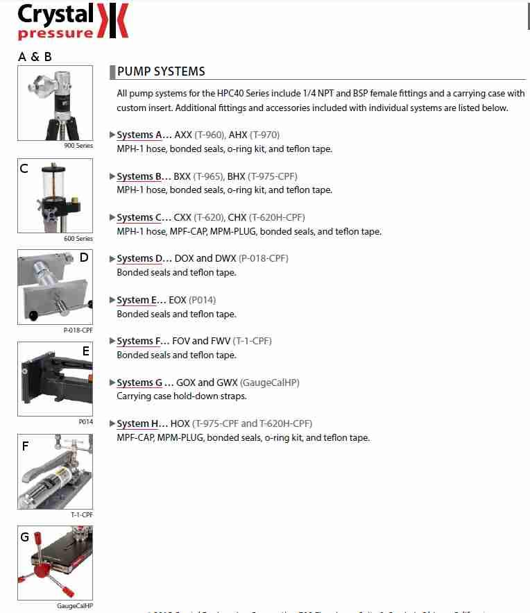 Crystal Ametek Pressure Pump Systems