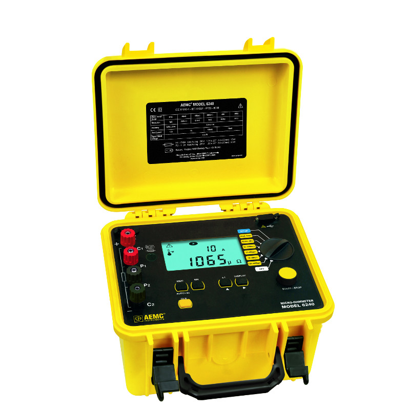 AEMC 6240 Micro-Ohmmeter with 10 Amp Kelvin Clips